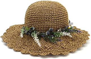Summer hat 2019 Summer Baby Child Girl Shuck Sun Hat Flower Bucket Beach Holiday Boho hat (Color : Coffee, Size : 56-58CM)