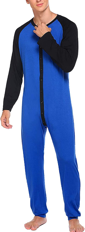 N /D Mens One-Piece Pajama Long Sleeve Thermal Union Suit Button Down Sleepwear Soft Winter Onesie Loungewear