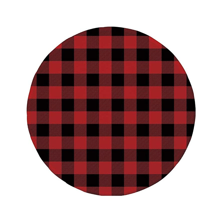 Non-Slip Rubber Round Mouse Pad,Red Plaid,Lumberjack Clothing Inspired Square Pattern Checkered Grid Style Quilt Design,Scarlet Black,11.8