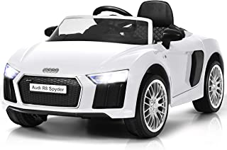 Costzon Kids Ride On Car, Licensed Audi R8 12V Battery Powered Vehicle w/ Remote Control, Double Lockable Doors, 3 Speeds, LED Lights, MP3 Player (White)