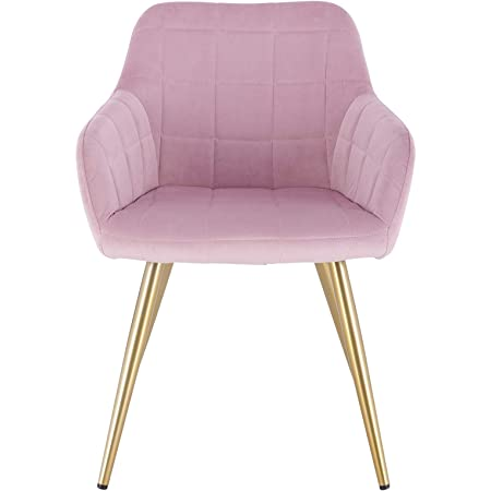 EUGAD 1x Dining Room Chair Kitchen Side Chair for Bedroom Living Room Pink Velvet Dining Chair with Arms Rest Back Support /& Golden Metal Legs 0661BY-1
