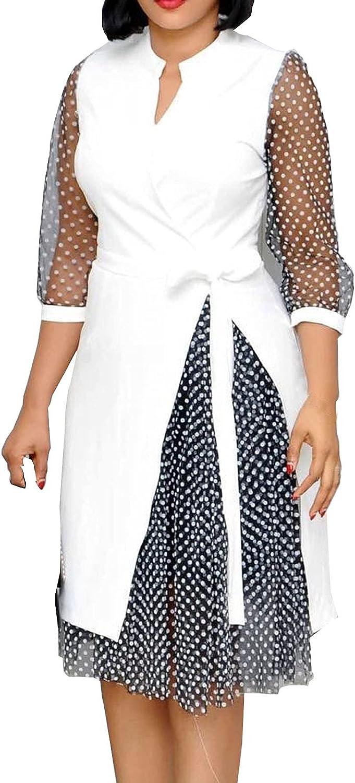 PAPIYON Formal Dress for Women Elegant V Neck 3/4 Sleeve Plain Summer Dress Tie Waist Double Layer Mesh Skirt