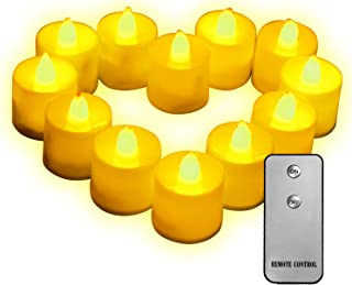 Remote Control Realistic Bright Flickering LED Candles,Tea Lights Flickering Pack of 12,Flameless Flickering Bright Led Te...