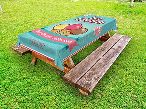 """Ambesonne Ice Cream Outdoor Tablecloth, Best Flavor Words with Free Topping Children Design Illustration, Decorative Washable Picnic Table Cloth, 58"""" X 104"""", Seafoam Pink Pale Yellow"""