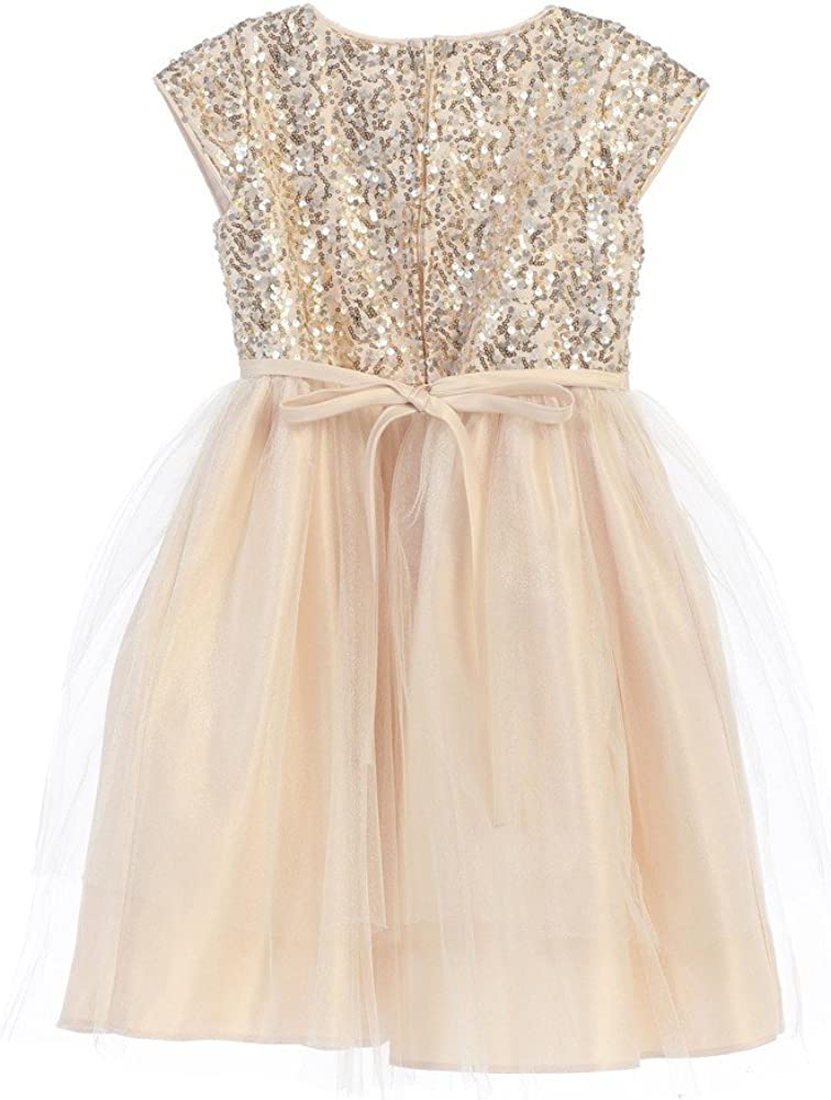 Sweet Kids Little Girls Champagne Sequin Top Overlaid Occasion Dress 2T-6
