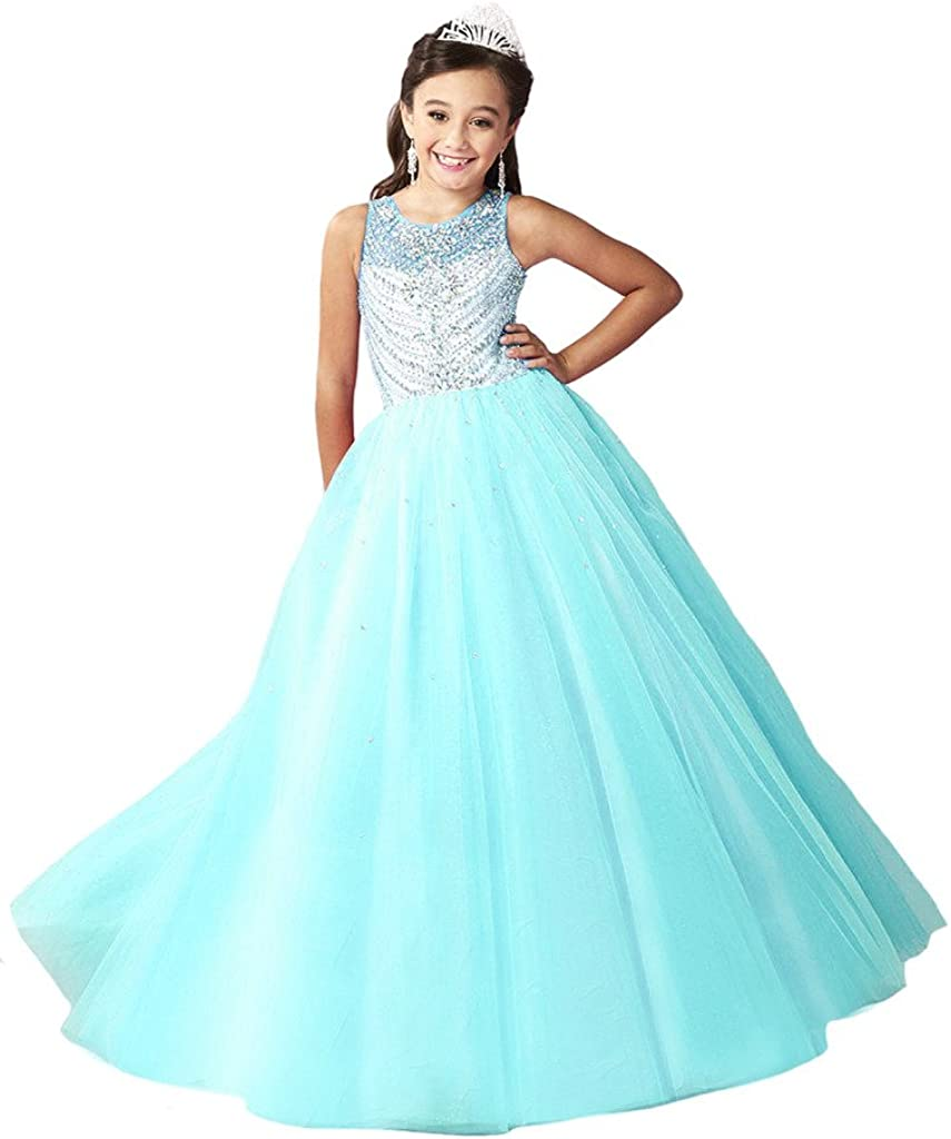 Wenli Girls Sleeveless Sheer Neck Lace-up Princess Pageant Dress