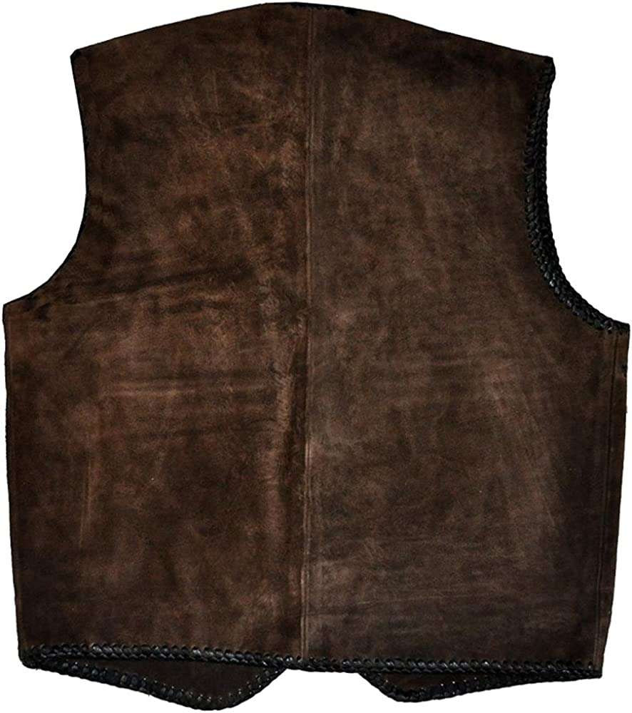 coolhides Mens Suede Leather Vest with Leather Laces
