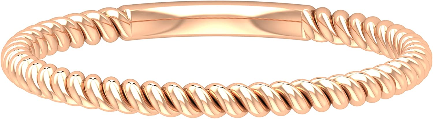 Solid 14k Gold Twisted Wedding Anniversary Band, Minimal Stackable Thin Braided Bridal Ring Sets, Mother Birthday Matching Promise Rings Gifts for Her, 14K Gold