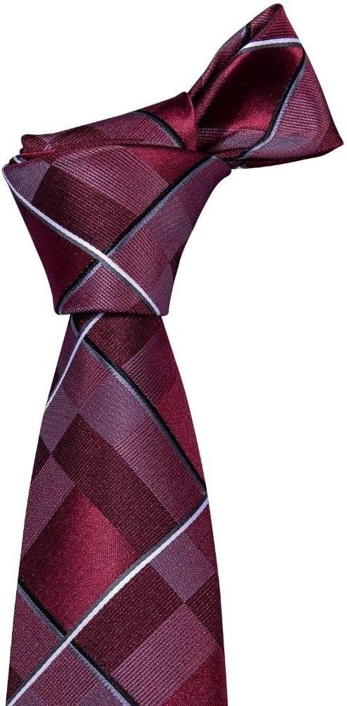 YTGUEVKDH New Mens Wedding Tie Red Plaid Silk Tie Hanky Set 8.5cm Fashion Designer Neck Ties Compatible with Men Party