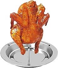 Miklan Chicken Roaster Rack - Folding Vertical Roaster Turkey BBQ Holder, Roaster Rack Stainless Steel Chicken Holder Pan Upright Beer Silver Baking Pan Grilled Roast Rack for Outdoor Camping