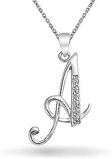 Abc Cubic Zirconia Pave CZ Cursive Script Letter Alphabet Initial Pendant Necklace For Teen Women 925 Sterling Silver