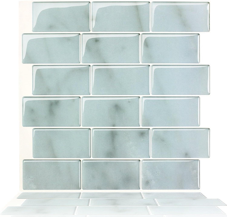 T.Y.S Peel and Stick Self-adhesive Decorative Kitchen Bathroom Backsplash Sticker Marble Design,12 x12  (10 Sheets)