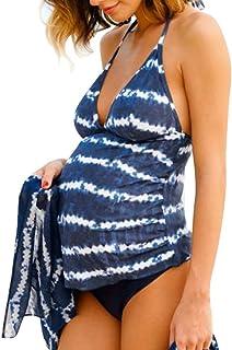 マタニティ水着 POTOJP オシャレ 大人 ワンピース水着 妊婦用 女性用 セパレート お腹カバー スイムウェア ママ水着 体型カバー 2点セット 産前産後兼用 (XL, 波紋)