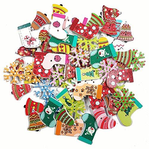 50Mix de Navidad botones Scrap reserva regalo envolver costura bolsa Reino Unido por accesorios ático