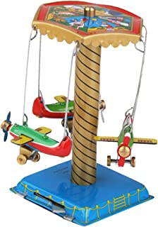 LoveinDIY Vintage Style Wind-up Spinning Carousel Airplanes Merry Go Round Planes Tin Toy Gift