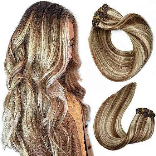 Clip In Human Hair Extensions Mixed Bleach Blonde Extension Clip in Thickened Double Weft Brazilian Balayage Ombre Hair 120g 7pcs Full Head Silky Straight 100% Human Hair Clip In Extensions 18 Inch
