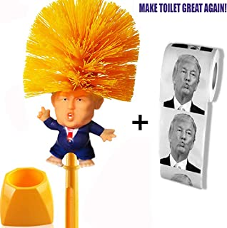 KOOYUTA Donald Trump Toilet Brush Toilet Paper Bundle Funny Political Gag Novelty Item (Holder Included)