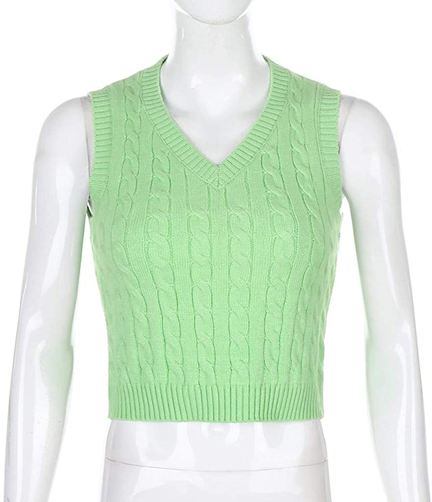 Leyben Womens Knitted Sweater Vest Preppy Style Argyle Plaid Sleeveless Classic Casual Streetwear College Tops