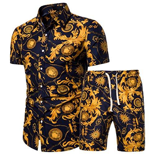 Camisa Hombre Verano Slim Fit Botón Tapeta Camisas Casuales Impresión Creativo Kent-Collar Set Hombres Camisa Surf Hawaii Camisa Pesca Hombres Manga Corta J-Yellow(A) L