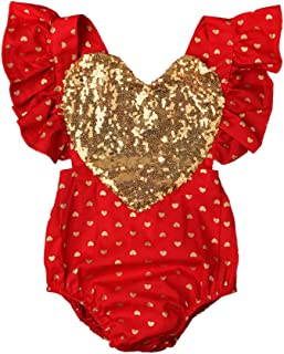 Baby Girl Valentine's Day Birthday Outfit Sequin Heart Romper Ruffle Sleeve Bodysuit Halter Backless Sunsuit Photo Prop