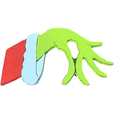 Christmas Thief Grinch Hand Cut Out Decorations - Thief Hand is Stealing Your Ornaments, Thanksgivings Indoor Decoration for Home, Party, Front Door, Living Room, Window, Christmas Tree (Left+Right)