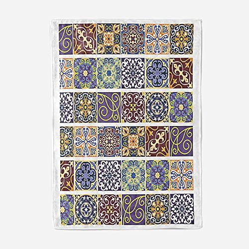 Manta Sherpa, Manta para Cama de 100% Microfibra Extra Suave de Felpa Dormitorio Sala de Estar sofá Cama, Mantas Cama Matrimonio:150x200cm, Patrón Geométrico Colorido De Dibujos Animados