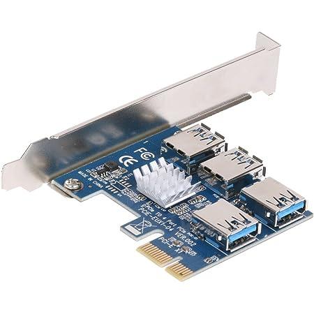 XT-XINTE PCI-e PCI-Express x16 1ポートから4ポートへの変換 スロット ライザーカード PCI-e x1~外付けPCI-e USB 3.0 4ポート接続 アダプター マルチプライヤーカード ビットコインマイナー用