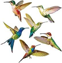 Yililay Hummingbird-raamstickers, 6 stuks, glazen raamstickers voor terrasdeuren, anti-botsingen, raam-slings, creatieve v...