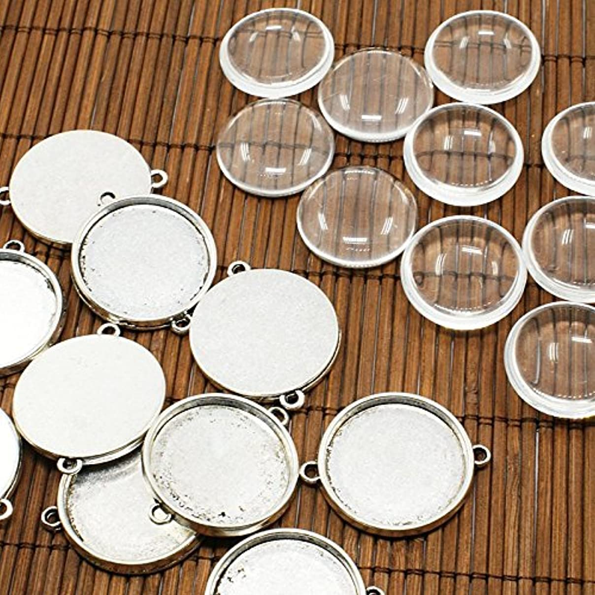 PEPPERLONELY Brand 10 Sets Silver Tone Alloy Cabochon Frame Setting Tray Connector with Round Glass Dome Tile Cabochon 25mm kv90467087523