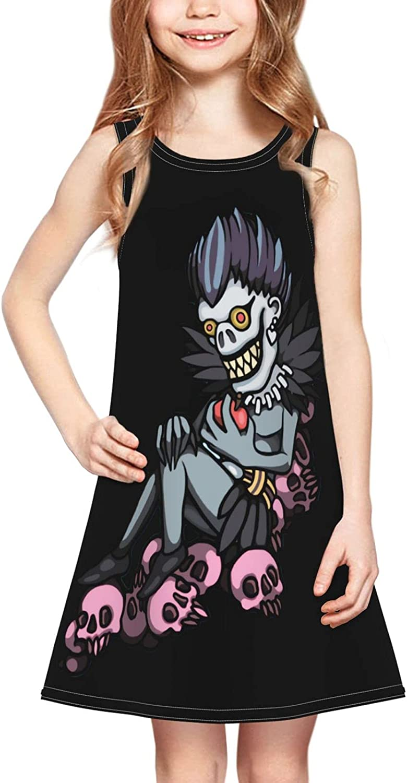 Cuywiiu Little Girl Sleeveless Dress Tongue Death Note Casual Anime Print Pullover Skirt 2-6 Years Black