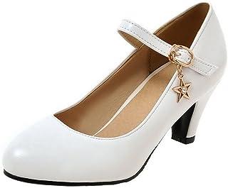 344b309258b AgeeMi Shoes Mujer Hebilla PU Puntera Redonda Sólido Tacón Medio De salón