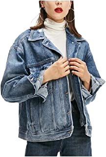 Howely Women's Washed Classic Loose Long Sleeve Boyfriend Jeans Jacket