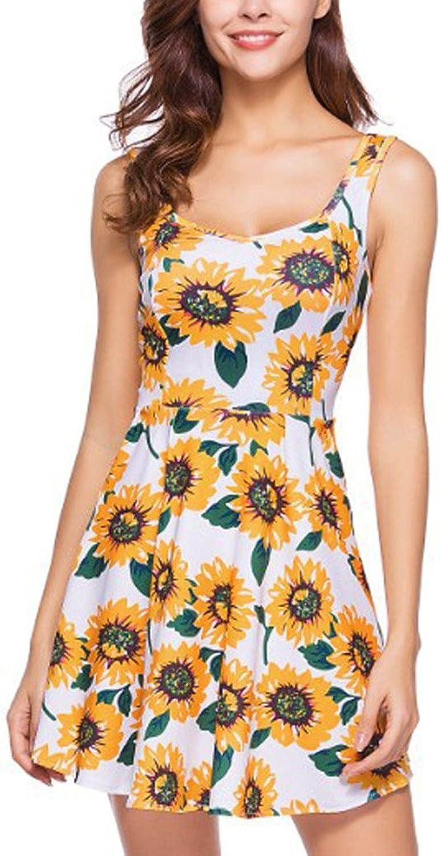 Aibearty Womens Causal Beach Dresses Elastic Flower Printed Sleeveless Dress