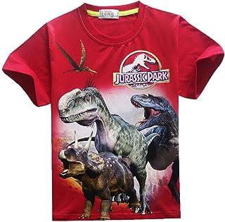 Huha T-Shirt da Bambino con Stampa Dinosauro Top Camicie Tee T-Shirt da Bambino Manica Corta Completi da Jogging Top Streetwear