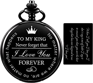SIBOSUN Pocket Watch for Men Who Have Everything Birthday Gifts for Men Personalized Gifts for Husband Boyfriend (King) En...