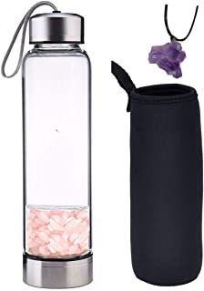 Dyshuai Natural Crystal Water Bottle with Infused Gem and Neoprene Sleeve 18.6OZ with Natural Purple Crystal Necklace