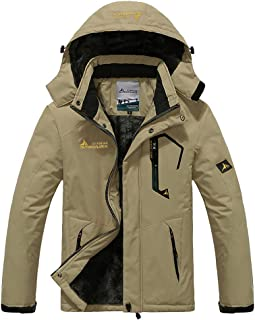 Susclude Men's Fleece Snowboarding Jacket Winter Windproof Mountain Jacket Waterproof Warm Hooded with Multi-Pockets
