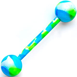"""14G Women Blue Green IP Stainless Steel Camouflage Barbell Tongue Ring Body Piercing Jewelry 5/8"""""""