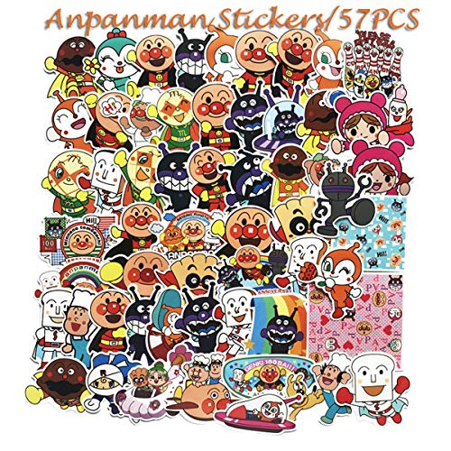 Anpanman Stickers 57pcs Decals for Laptops Water Bottles Toys and Gifts for Teens,Girls,Perfect for Laptop,Hydro Flask,Phone,Skateboard,Travel| Extra Durable Vinyl (Anpanman)