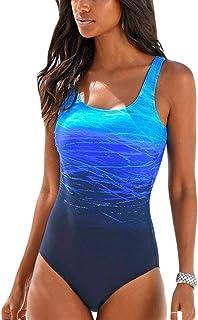 524bd8cb9d59f3 Happy Sailed Damen Badeanzug Farbverlauf Kreuz Rückseite Einteiler Swimsuit  S-XL