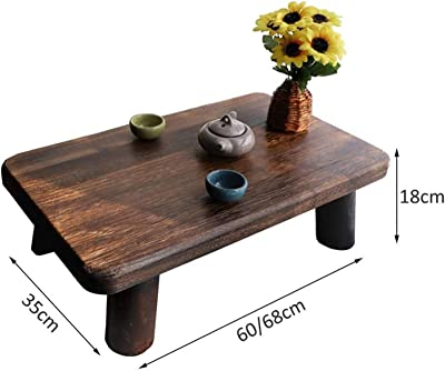 Coffee Table Side Table Wooden Mid-Century Modern Coffee Table Simple Solid Wood Table Tatami Platform Low Table Home Bay Window Table,60 * 35 * 18cm