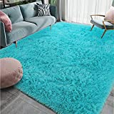 Homore Luxury Fluffy Area Rug Modern Shag Rugs for Bedroom Living Room, Super Soft and Comfy Carpet, Cute Carpets for Kids Nursery Girls Home, 6x9 Feet Teal Blue