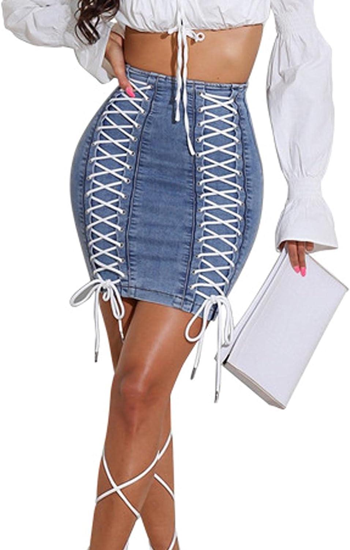 SEMATOMALA Women's String Criss Cross Lace Up Denim Jeans Skirt Bodycon High Waist Stretchy Back Zipper Pencil Clubwear
