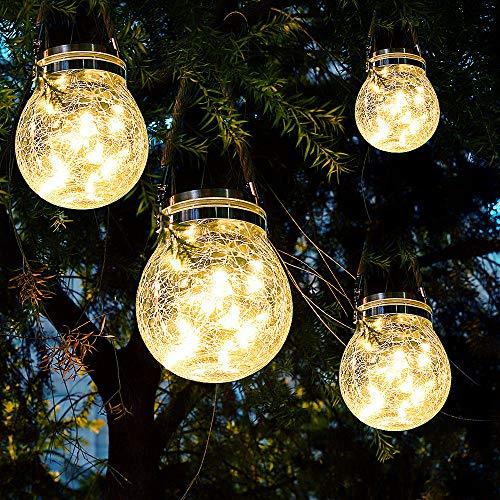 [4 Pezzi] Lanterne da Esterno 30 LED Lampade Solari a Luci Solari da Esterno Luci Giardino Lampada Vetro Esterno Impermeabili per La Decorazione del Giardino Tavolo Sentiero.