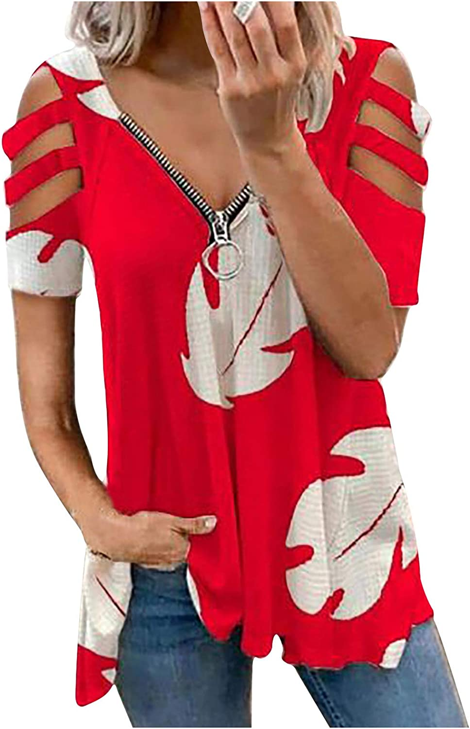 Wocachi Blouse for Women, Cold Shoulder Cut Out V Neck Zipper Tshirts Waffle Patchwork Tie Dye Casual Tunic Tops