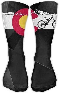 Colorado - Calcetines largos para bicicleta de montaña, diseño de la bandera D