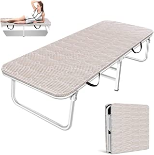 Single Folding Bed Frame,Office Single Lunch Break Bed Accompanying Bed Simple Bed Wooden Bed Outdoor Camping Bed,White Steel Pipe + Striped Bed Surface