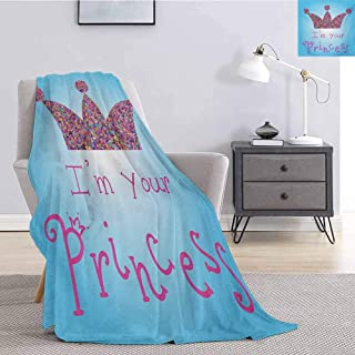 Luoiaax I am a Princess Flannel Fleece Throw Blanket Romantic Quote Couples in Love Colorful Mosaic Style Crown Tiara Queen Size Blanket Soft Warm W51 x L60 Inch Blue Pink Multicolor