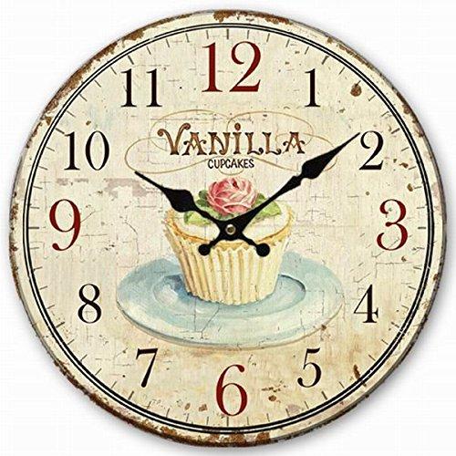 Telisha Wanduhr aus Holz, Vanille, Cupcake-Uhr, Retro, Vintage-Stil, groß, Heimdekoration, Land, kein Ticken, leise, 35,6 cm, Geschenk