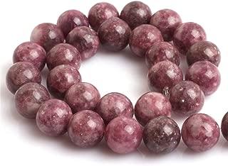 Pink Tourmaline Lepidolite Beads for Jewelry Making Natural Gemstone Semi Precious 12mm Round 15